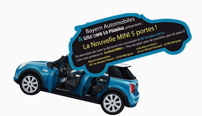 Bayern Automobiles, MINI, création de flyer, forme de découpe