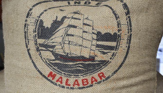 Belco, café Malabar, une impression basique pour une provenance subtile, illustration vectorielle