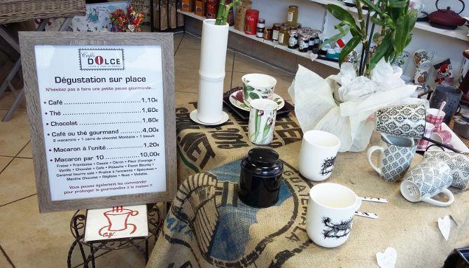 Cafés Dolce, pancarte tarifs