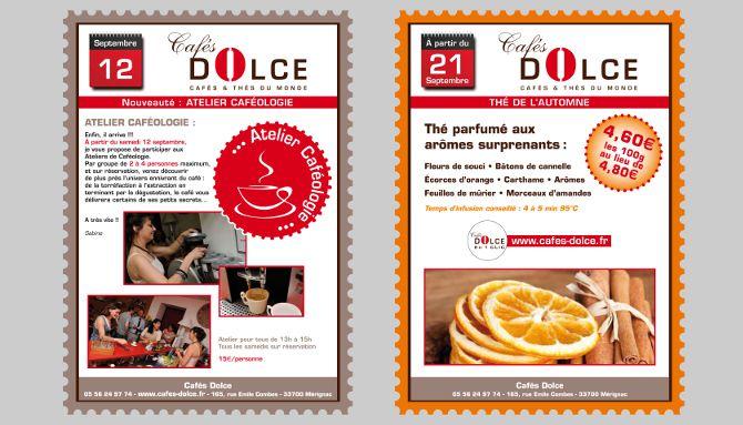 Cafés Dolce : Création de mailings, envoi SMS, textos, mail
