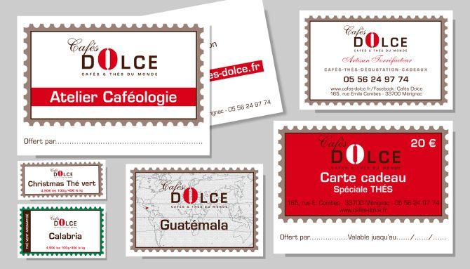 Cafés Dolce : Adaptation de la gamme, cartes de visite, cartes de fidélité