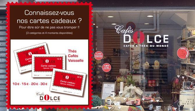 Cafés Dolce : Création cartes cadeaux, Cafés Dolce, Bordeaux, livraison rapide de tous les supports