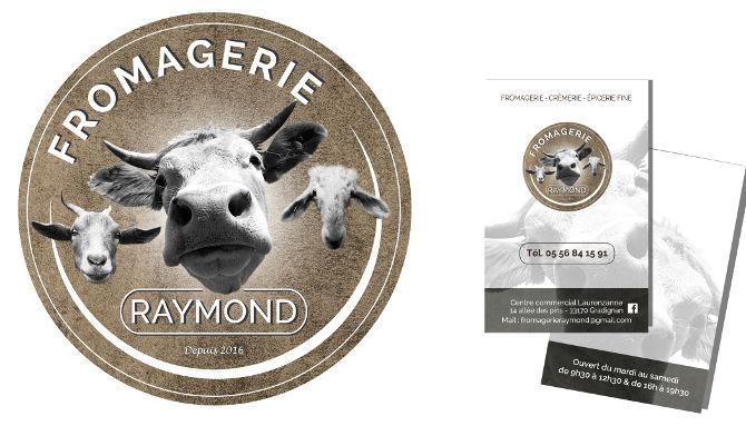 Fromagerie Raymond, Carte de visite, recto/verso, charte graphique respectée, le logo mis à l'honneur