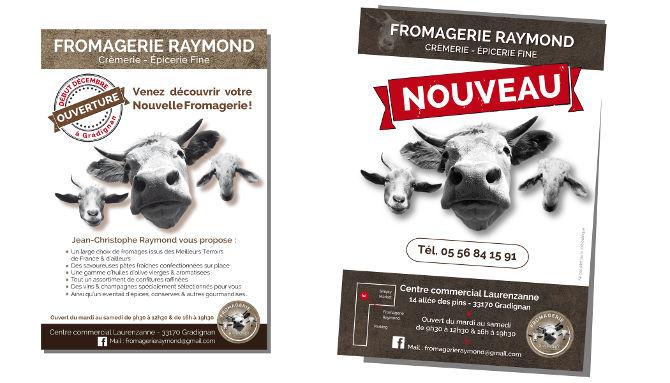 Fromagerie Raymond, Déclinaison encart dans magazine des commerçants de Gradignan, Centre commercial de Laurenzanne. Flyers A5 distibués dans les alentours de son quartier