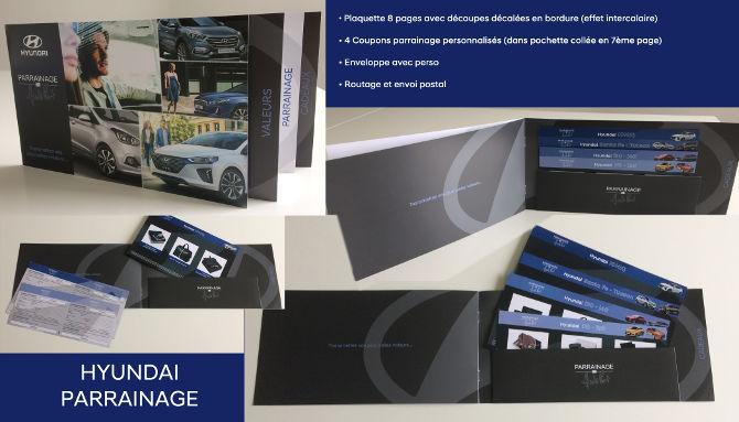 SIPA #4, Opération parrainage Hyundai. Choix audacieux, 8 pages avec zones décalées, charte, routage, impression spéciale