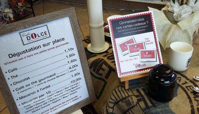 Cafés Dolce 3/6 : Déclinaison d'affichettes, PLV en intérieur